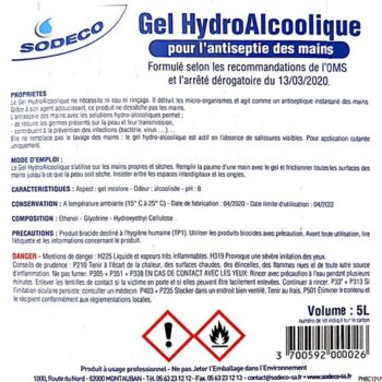 BIDON DE GEL Hydroalcoolique 5L – 42€ HT